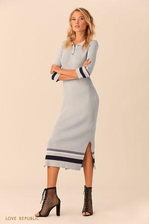 Длинное платье в стиле поло