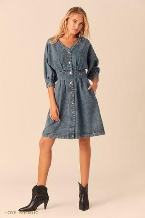 Синее джинсовое платье накнопках