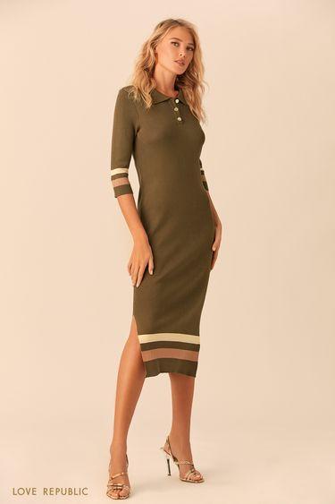 Длинное оливковое платье в стиле поло 0152132512