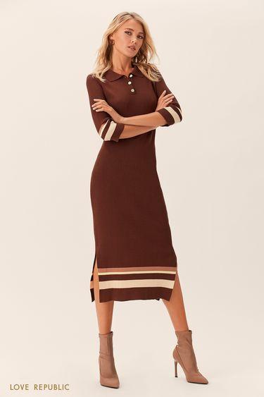 Длинное бежевое платье в стиле поло 0152132512