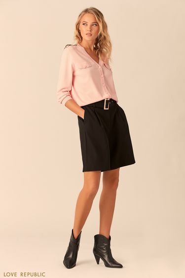Джемпер в стиле милитари розового цвета с погонами 0152134812