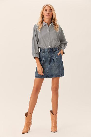 Короткая джинсовая юбка кроя с защипами 0152192212