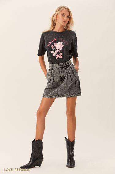 Джинсовая мини-юбка кроя с защипами 0152193212