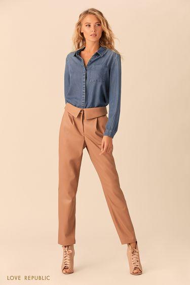 Джинсовая рубашка с закрытой пуговичной планкой 0152195317