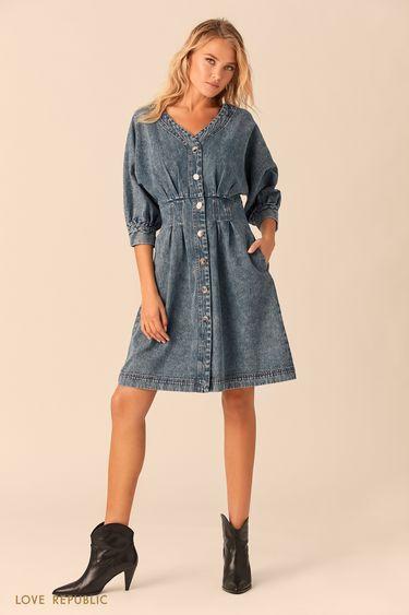 Синее джинсовое платье накнопках 0152198519
