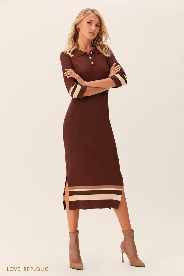 Длинное оливковое платье в стиле поло 0152132512-13