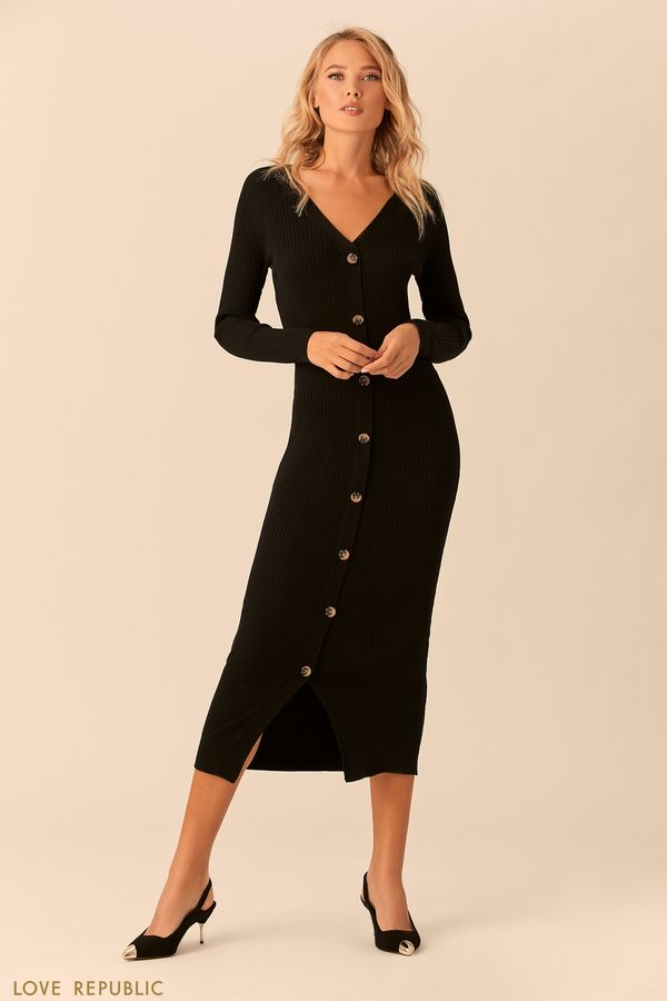 Чёрное трикотажное платье миди на пуговицах 0152142552-50