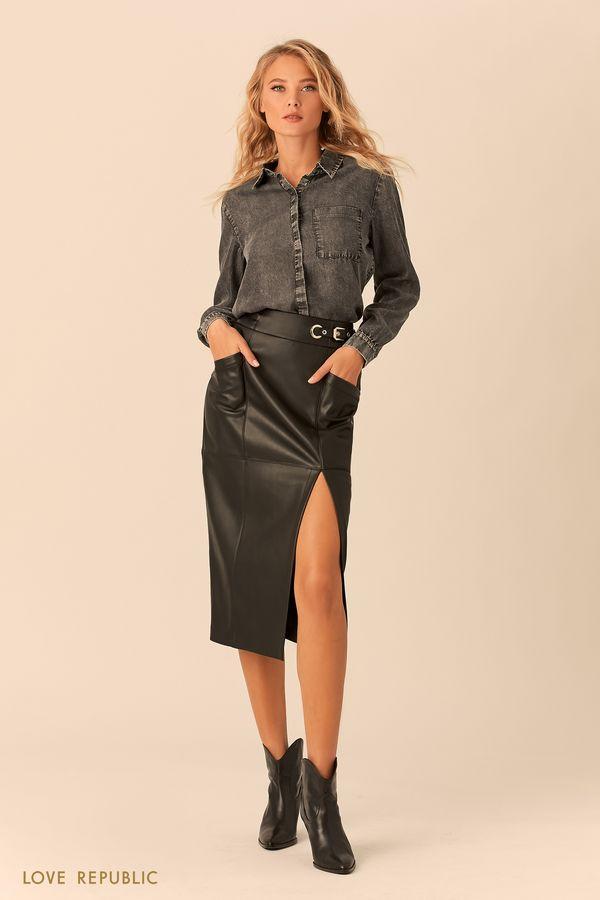 Рубашка из денима с закрытой пуговичной планкой 0152197317-32