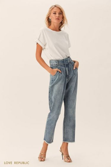 Укороченные джинсы с поясом и пряжкой в тон 0152203745