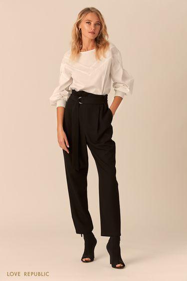 Белая хлопковая блузка с кокеткой 0152257303