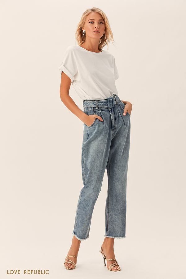 Укороченные джинсы с поясом и пряжкой в тон 0152203745-40