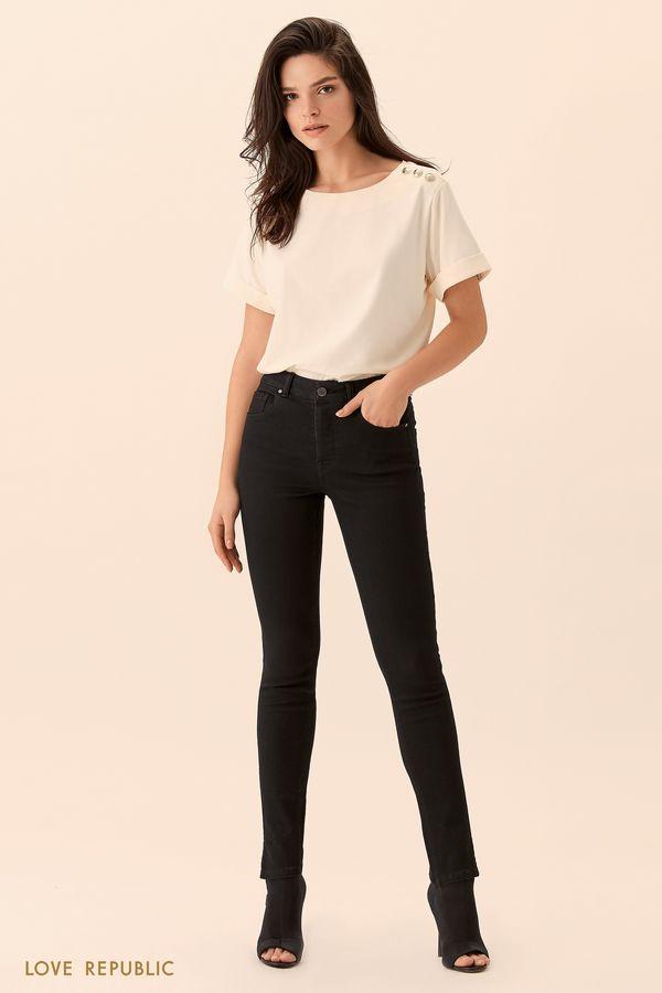 Узкие джинсы с разрезами снизу 0152204715-50