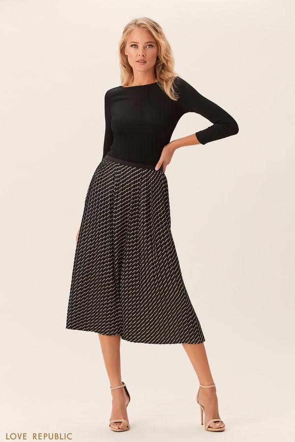 Плиссированная юбка миди с чёрным принтом 0152256201-54