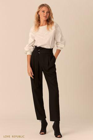 Укороченные брюки с поясом-корсетом фото