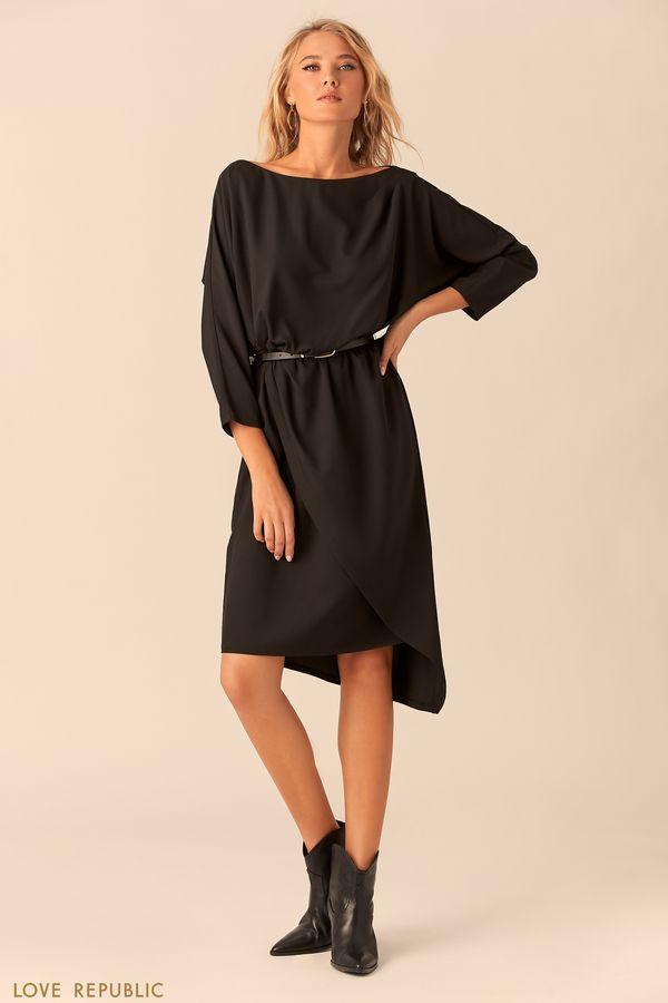 Платье черного цвета с асимметричной юбкой 0152316502-50