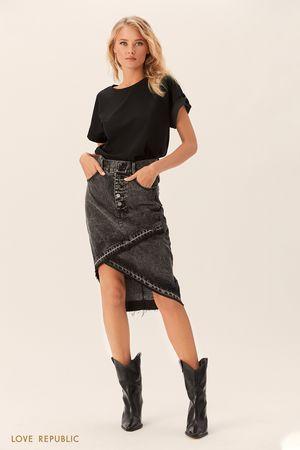 Джинсовая юбка-карандаш миди