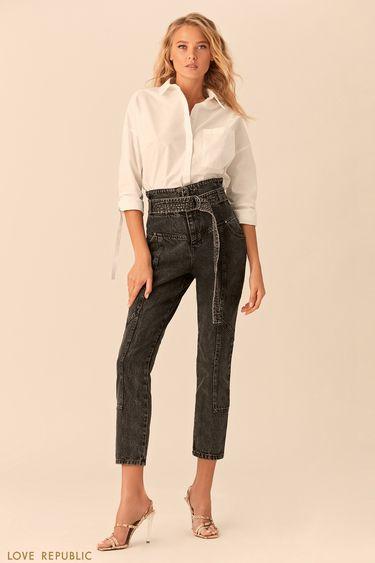 Укороченные джинсы накокетке споясом-корсетом 0152442705