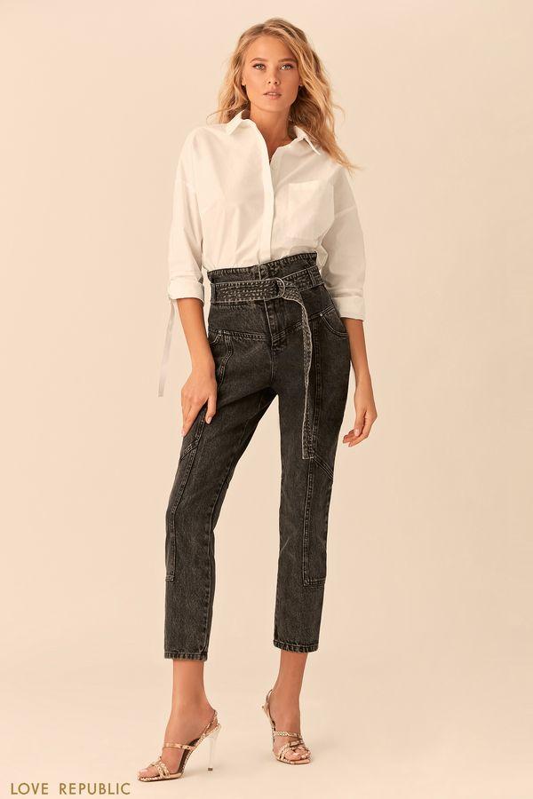 Укороченные джинсы накокетке споясом-корсетом 0152442705-108