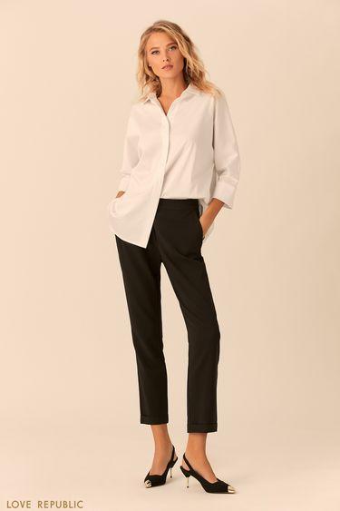 Укороченные базовые брюки с отворотами 0152563733