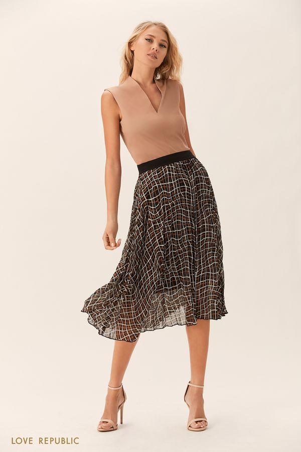 Плиссированная юбка миди с бежевым принтом 0152504238-65