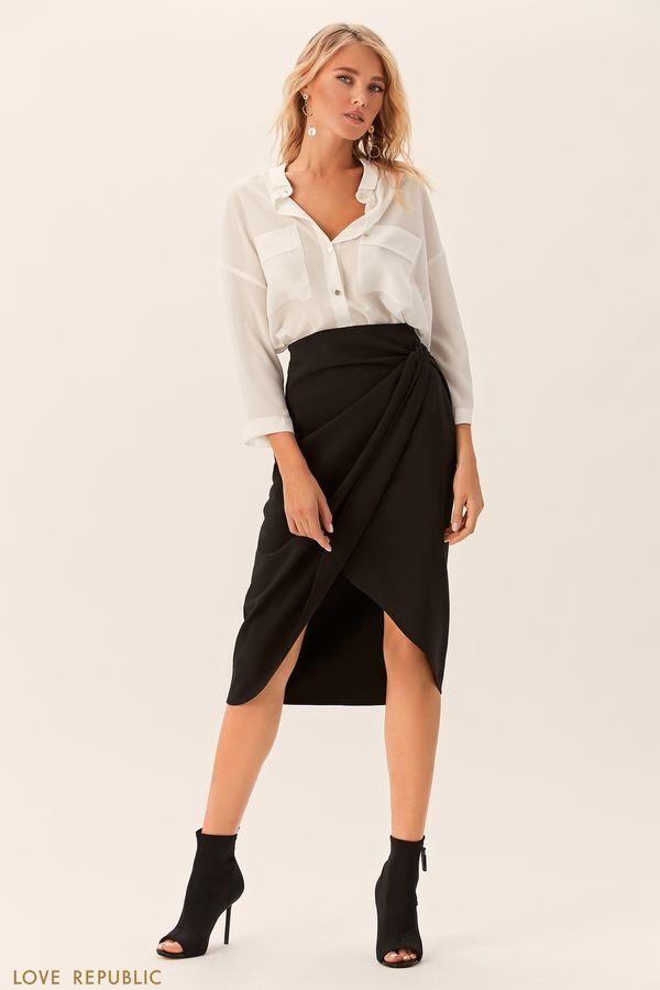 Чёрная юбка с узлом на бедре и драпировками 0152563240-50