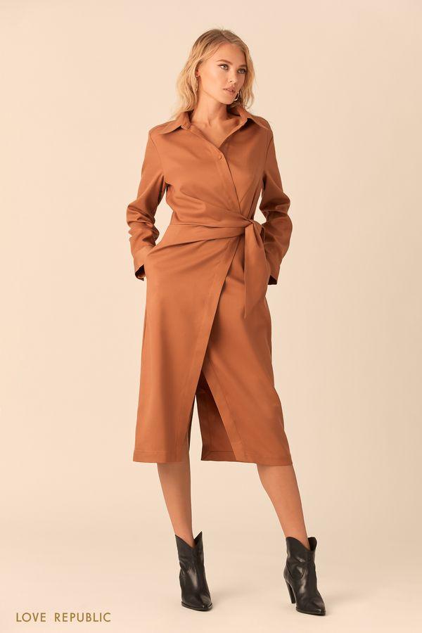 Чёрное платье-рубашка c вшитым поясом и принтом 0152565535-65