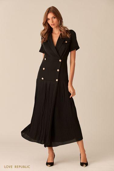 Длинное платье кроя на запахе с плиссировкой 0152758526