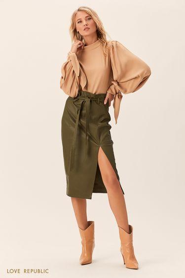 Блузка песочного цвета сбантами нарукавах 0152760324