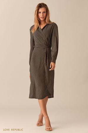 Чёрное платье миди с принтом и драпировками на поясе фото