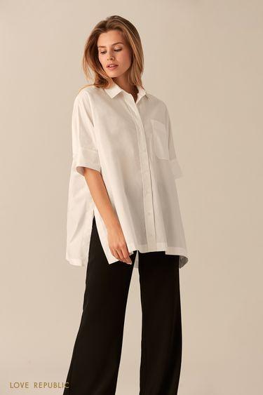 Свободная хлопковая рубашка белого цвета на пуговицах 0153003312