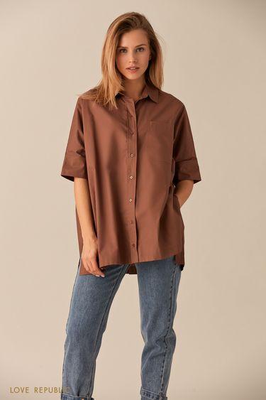 Свободная хлопковая рубашка цвета капучино на пуговицах 0153003312