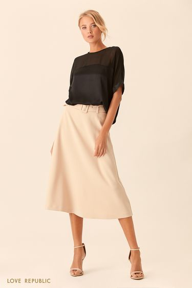 Чёрная блузка оверсайз спрозрачной вставкой 0153011321