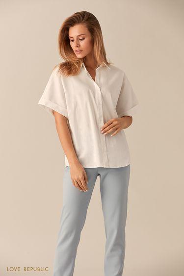 Хлопковая рубашка с широкими короткими рукавами 0153015362