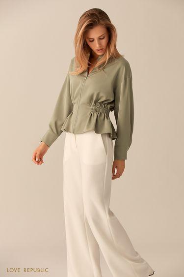 Зелёная блузка на молнии 01530260367