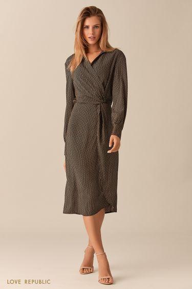 Чёрное платье миди с принтом и драпировками на поясе 0153044515