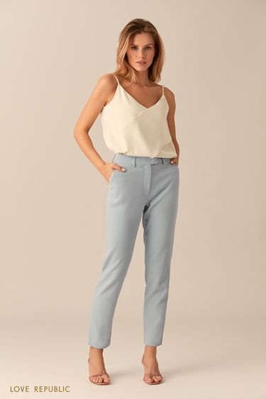 Прямые костюмные брюки голубого цвета 0153065732