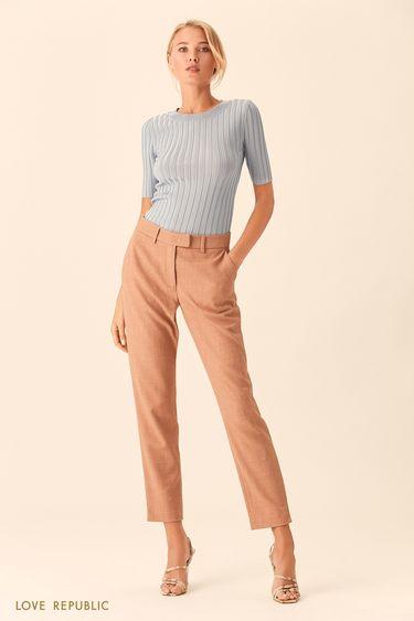 Прямые костюмные брюки песочного цвета 0153065732