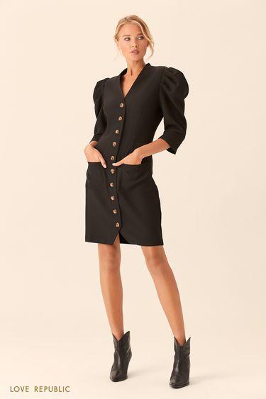 Платье мини на пуговицах с рукавами-буфами 0153073516