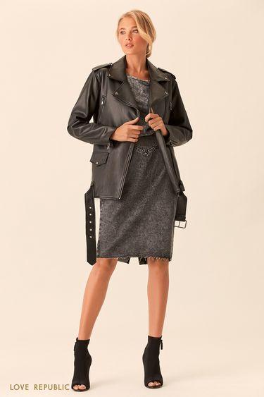 Прямая чёрная куртка-косуха с ремнём 0153084120