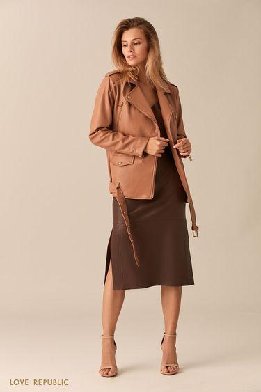 Прямая бежевая куртка-косуха с ремнём 0153084120