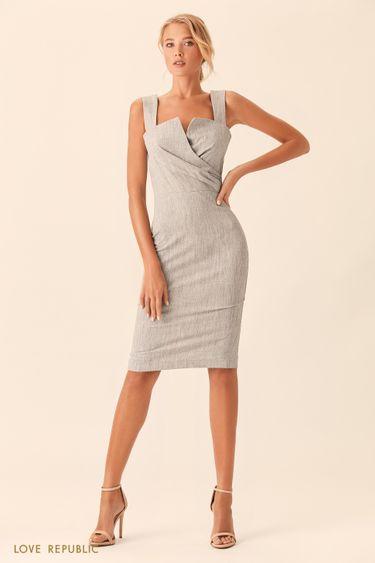 Серое платье миди с отрезным лифом на запахе 0153092564