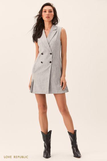 Серое платье-пиджак без рукавов 0153092566