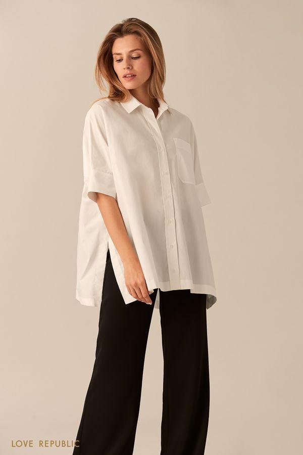Свободная хлопковая рубашка белого цвета на пуговицах 0153003312-1
