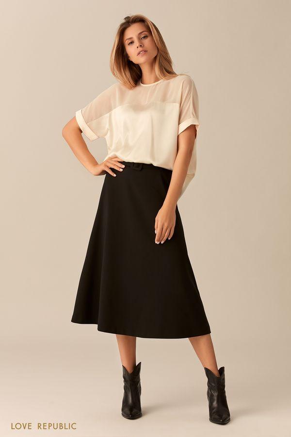 Белая блузка оверсайз спрозрачной вставкой 0153011321-1