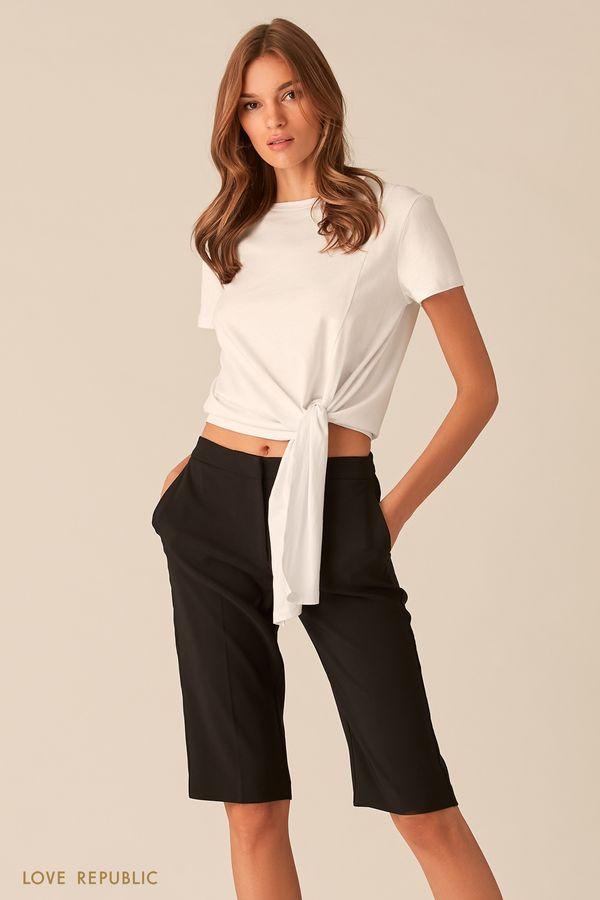 Белая футболка с асимметричным узлом на талии 0153013324-1