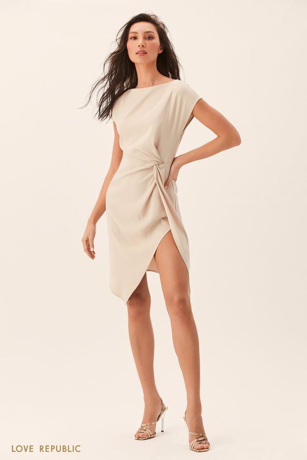 Кремовое платье с разрезом 0153043568-61