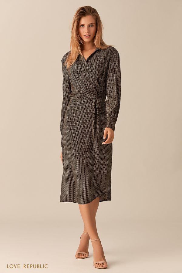 Чёрное платье миди с принтом и драпировками на поясе 0153044515-54
