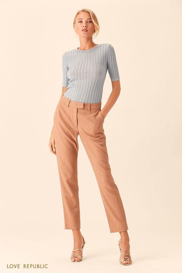 Прямые костюмные брюки голубого цвета 0153065732-41