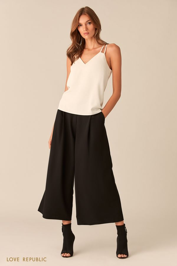 Чёрные брюки-кюлоты 0153066733-50