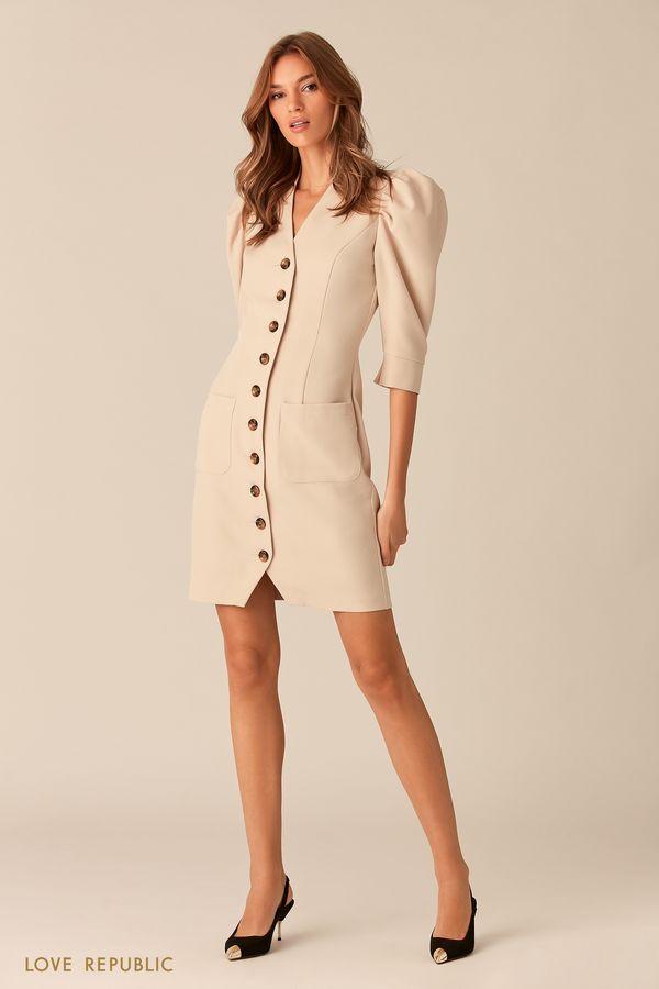Платье мини на пуговицах с рукавами-буфами 0153073516-50